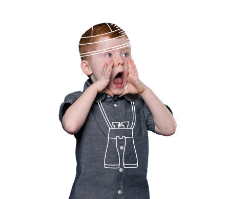 Image of a boy shouting with his hands cupped around his mouth. Cartoon leaves, a hat and binoculars are drawn around him.