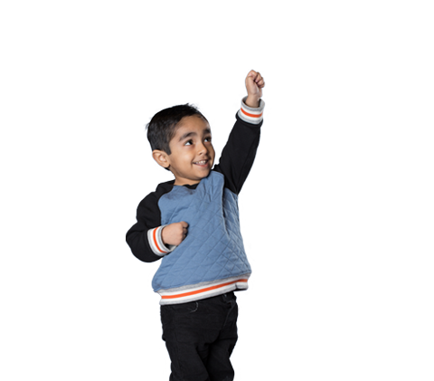 Image of a boy pointing his fist up while looking to the sky. A cartoon cityscape and clouds are drawn around him.